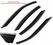 Cobra Tuning Profi Дефлекторы окон Nissan NP300 (D22) 2008/Frontier (D22) 2001-2005 с хромированным молдингом