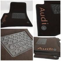 Ворсовые коврики в салон Audi A-4 2004г> МКП седан (увеличенный размер)