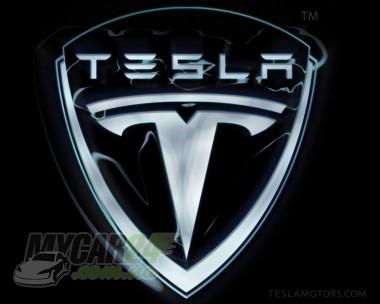 Logo Надпись Tesla black/chrom для Tesla